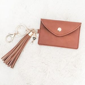 Light Brown Faux Leather Bee Card Holder Keychain